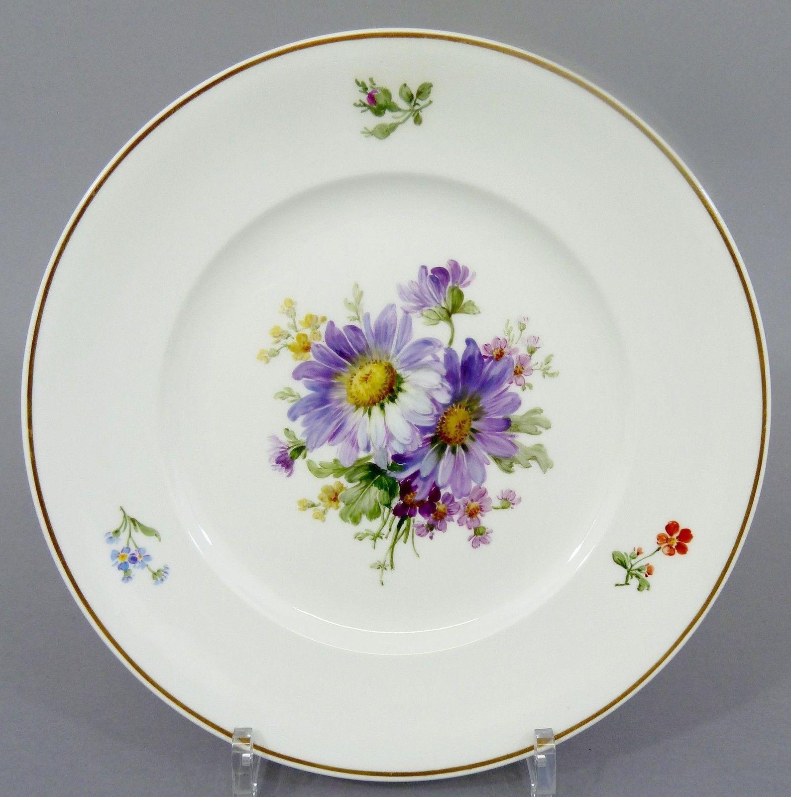 KPM Berlin Teller mit bunter Blumenmalerei, um 1900, D= 24,5cm #4 in Antiquitäten & Kunst, Porzellan & Keramik, Porzellan   eBay