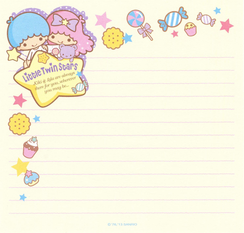 Kawai memo paper - Little Twins Star - Sanrio | papel carta y sobres ...