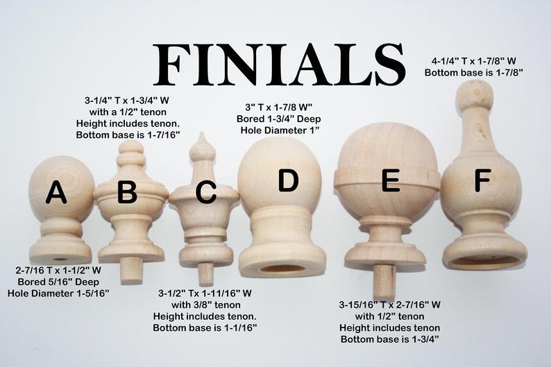 Wood Finials For Decorative