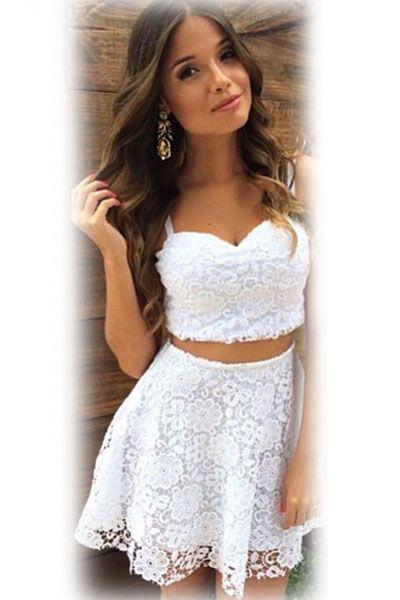 b00352f0b0d White Sweetheart Neck Lace Skirt Set Flared Mini Skirt