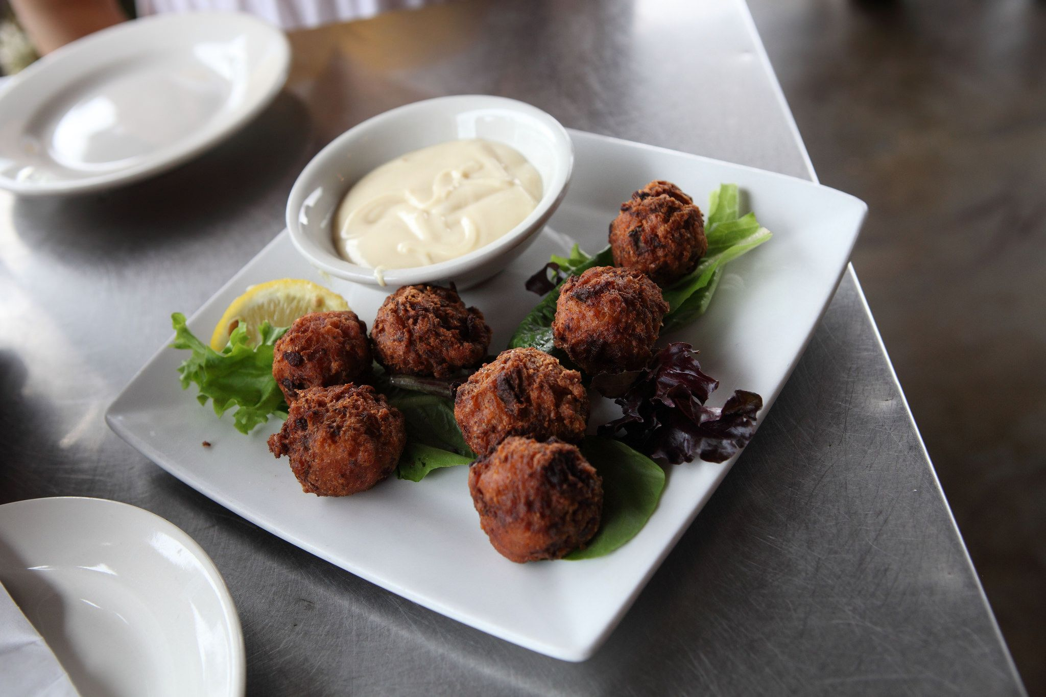 Plate of conch fritters