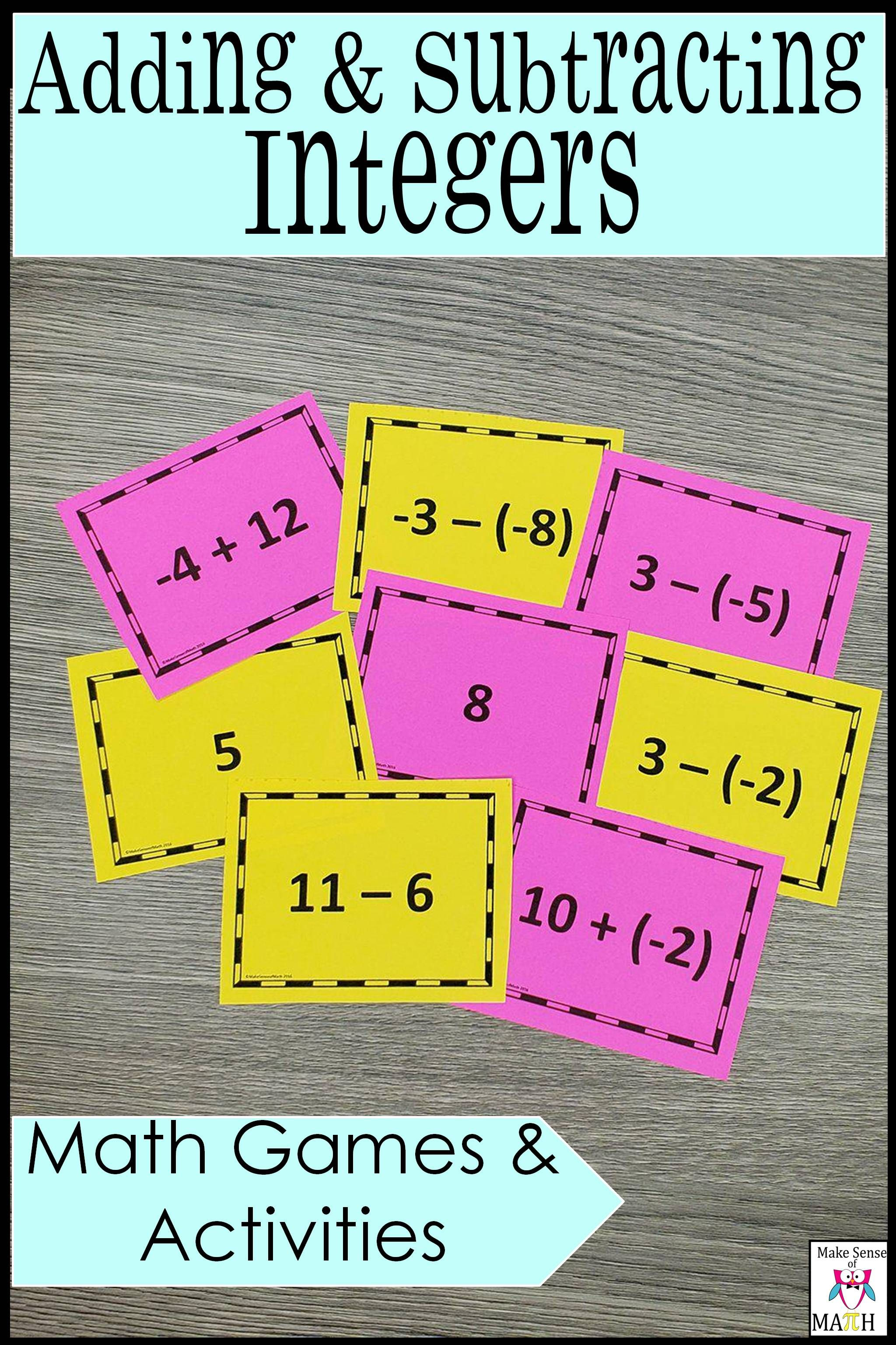 Adding And Subtracting Integers Task Card Games And Activities Adding And Subtracting Integers Math Games Middle School Maths Activities Middle School Adding and subtracting integers fun