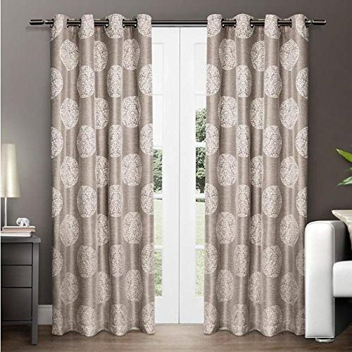 96 Inch Girls Natural Color Medallion Pattern Curtain Panel Pair Minimalist - Style Of Contemporary Window Coverings Style