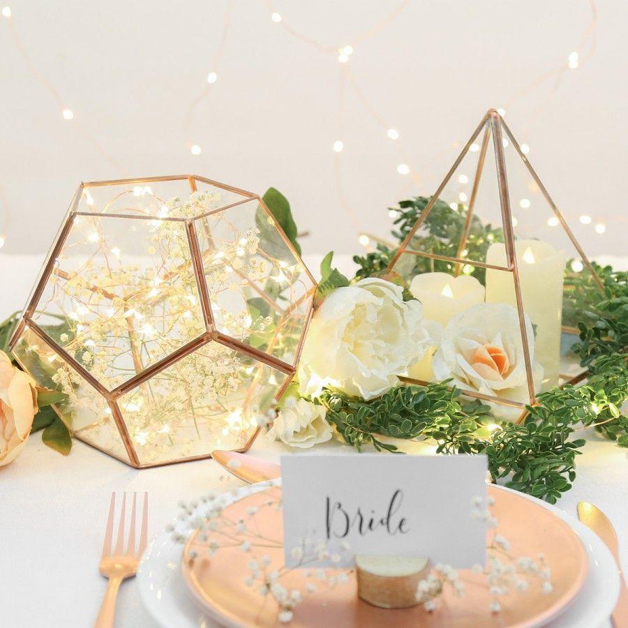 Metal glass copper pentagonal terrarium cm wedding