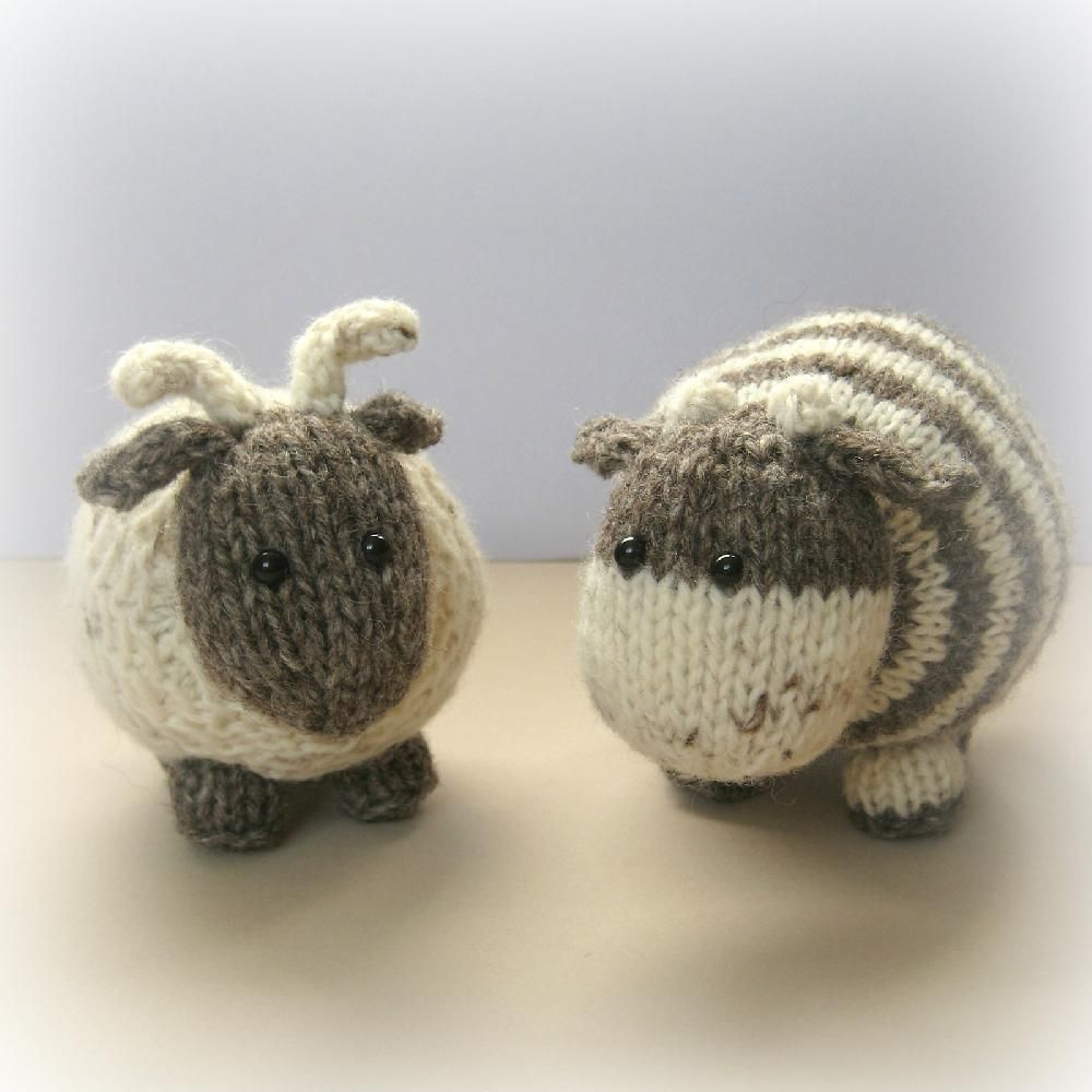 Bramble goat and chestnut cow Knitting pattern by Amanda Berry | Knitting Patterns | LoveKnitting #knittedtoys