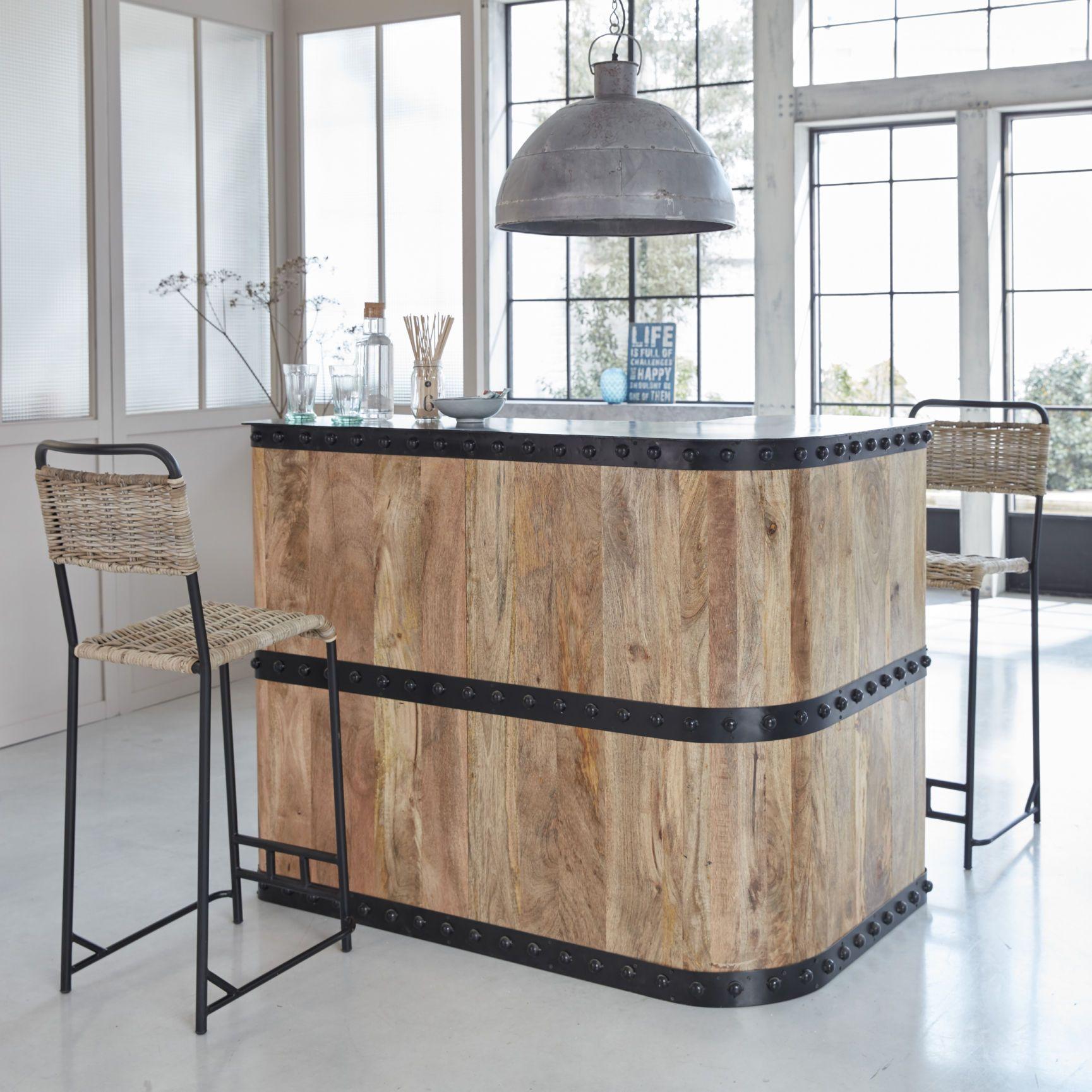 Bar en angle industriel bois et métal en 13  Meuble bar, Bar en