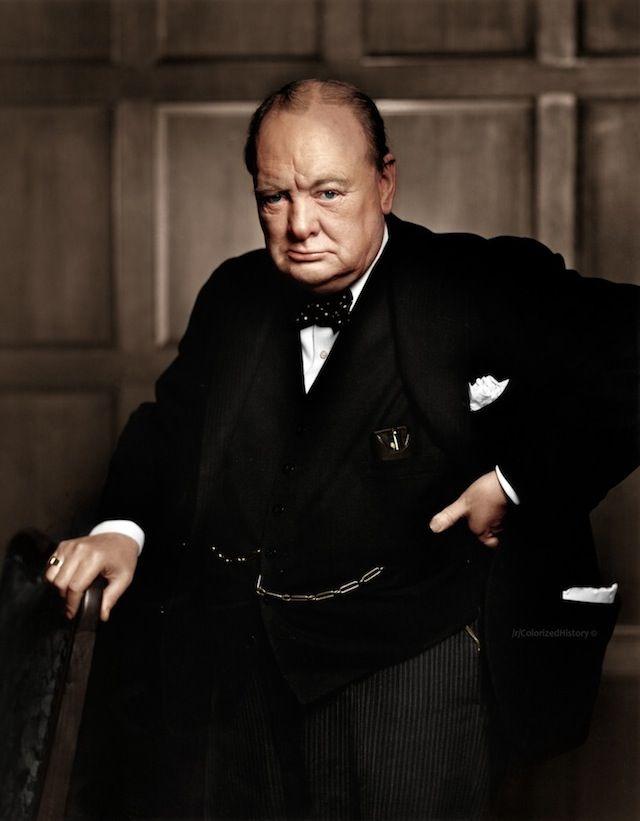 Colorized photo of Winston Churchill