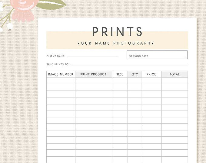 Photography Forms Client Booking Form Template for Photographers - product receipt template