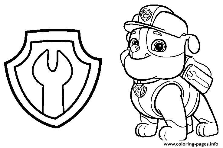Print Paw Patrol Rubble Mechanic Badge Coloring Pages Paw Patrol