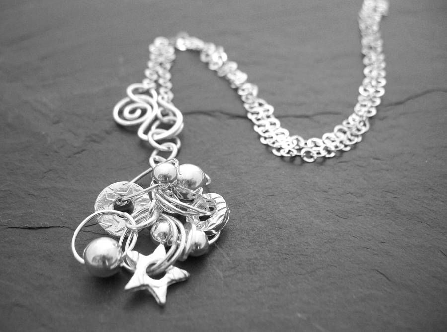 Long sterling silver charm necklace jewellery silver charms and 1 long sterling silver charm necklace mozeypictures Choice Image