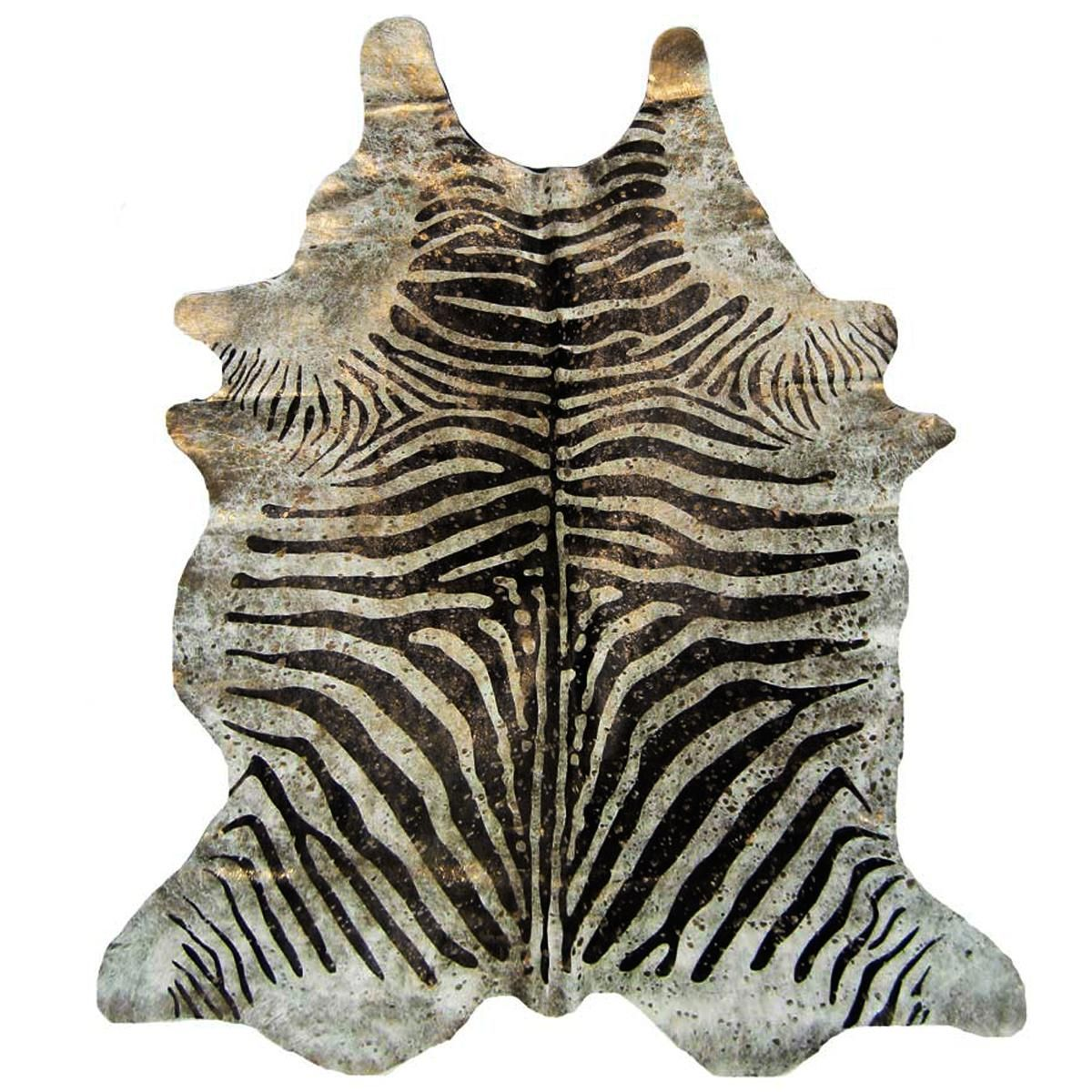 Metallic Splashed Zebra Cowhide Rug