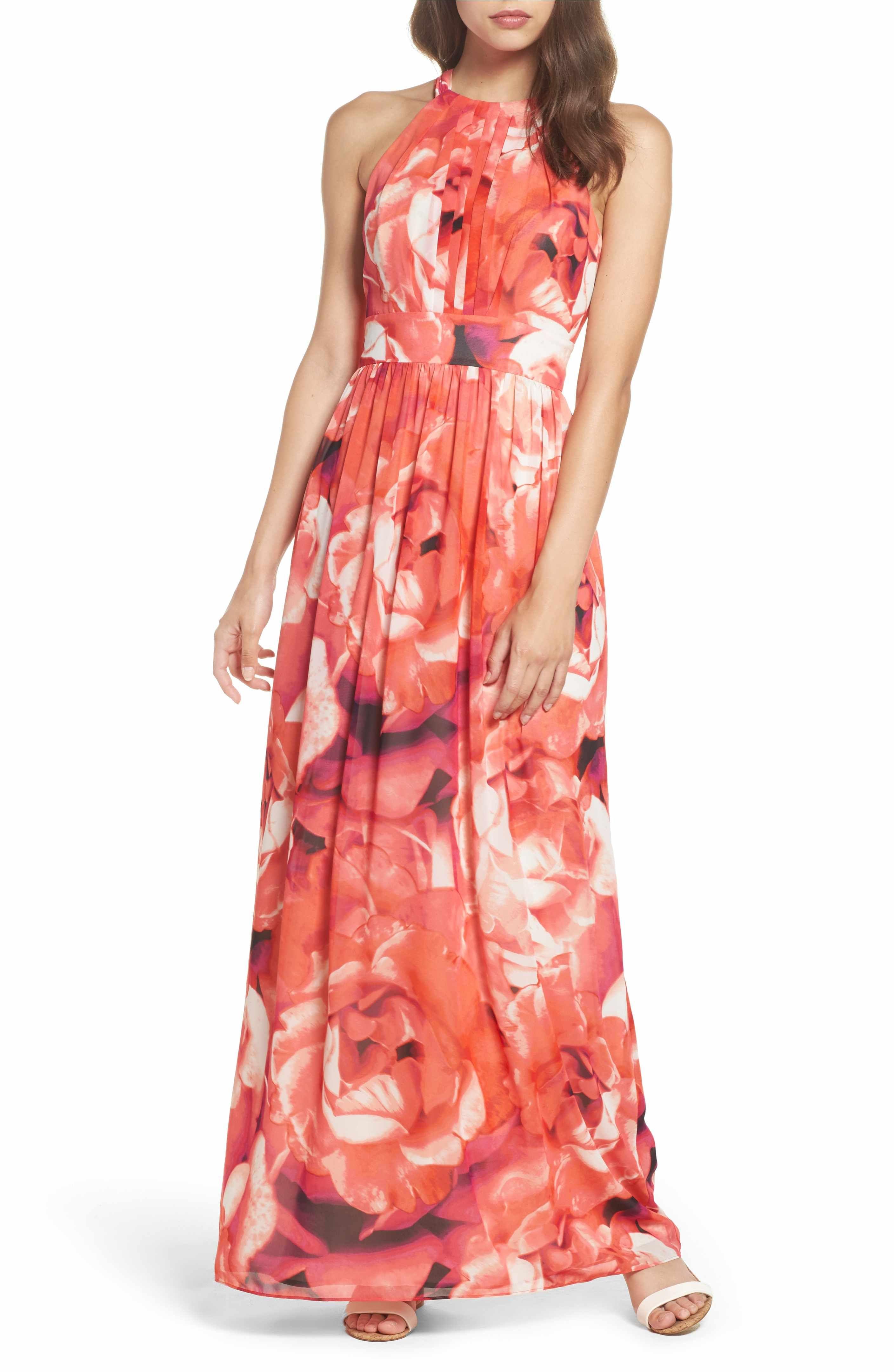 Main Image - Eliza J Print Chiffon Fit & Flare Maxi Dress ...