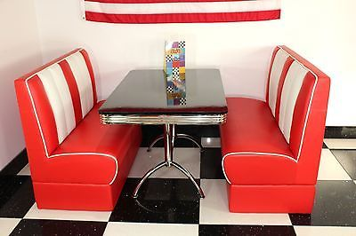American Diner #furniture 50s Style Retro #black Gloss #table And Red Booth  Set