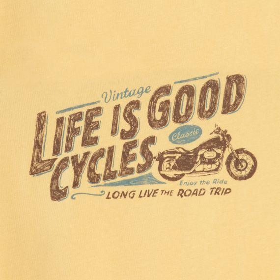 Men's Vintage Cycles Short Sleeve Creamy Tee Motorcycle Tee Shirts  Life is good