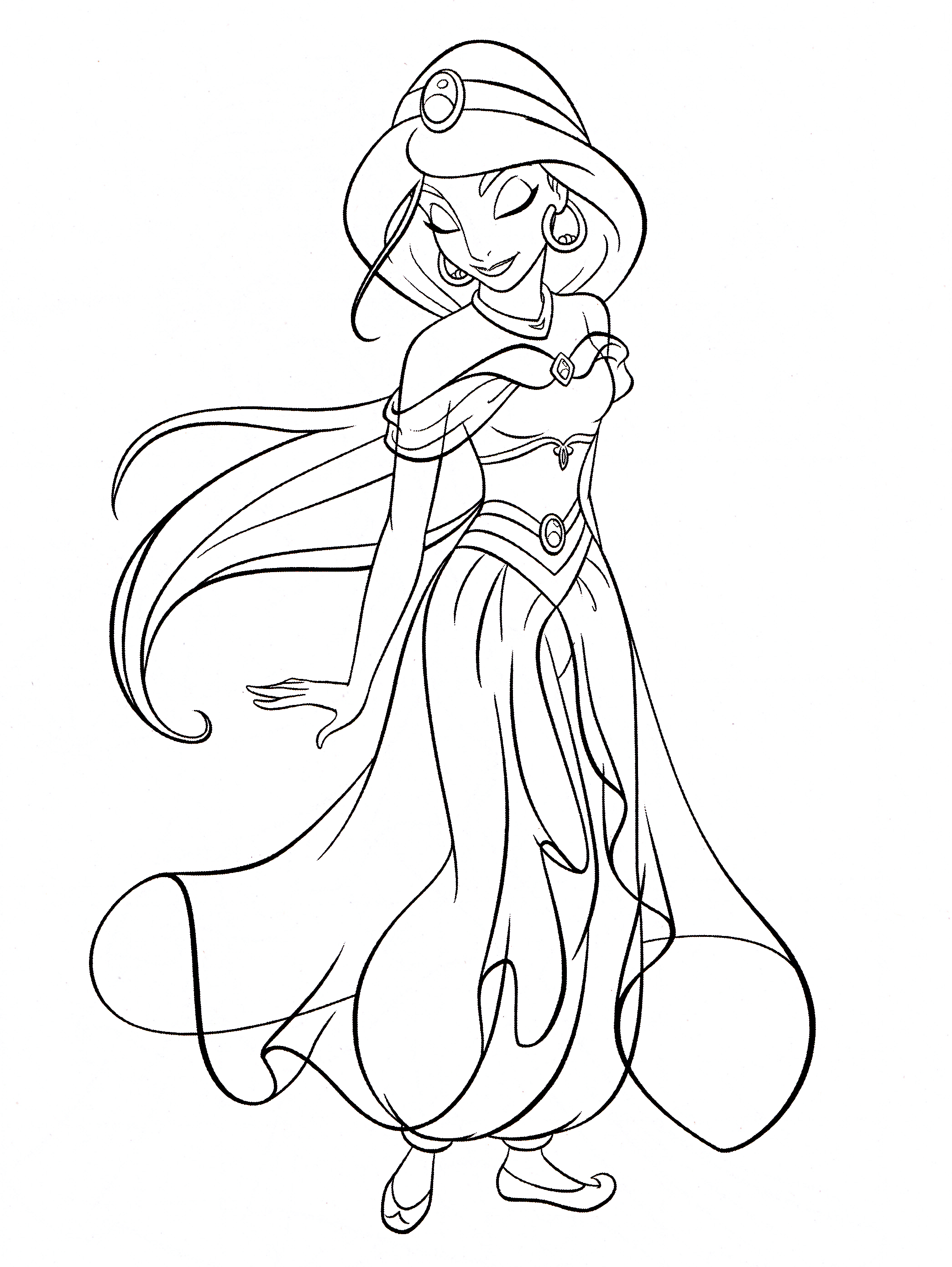 Kleurplaten Jasmine.Walt Disney Coloring Pages Princess Jasmine Walt Disney