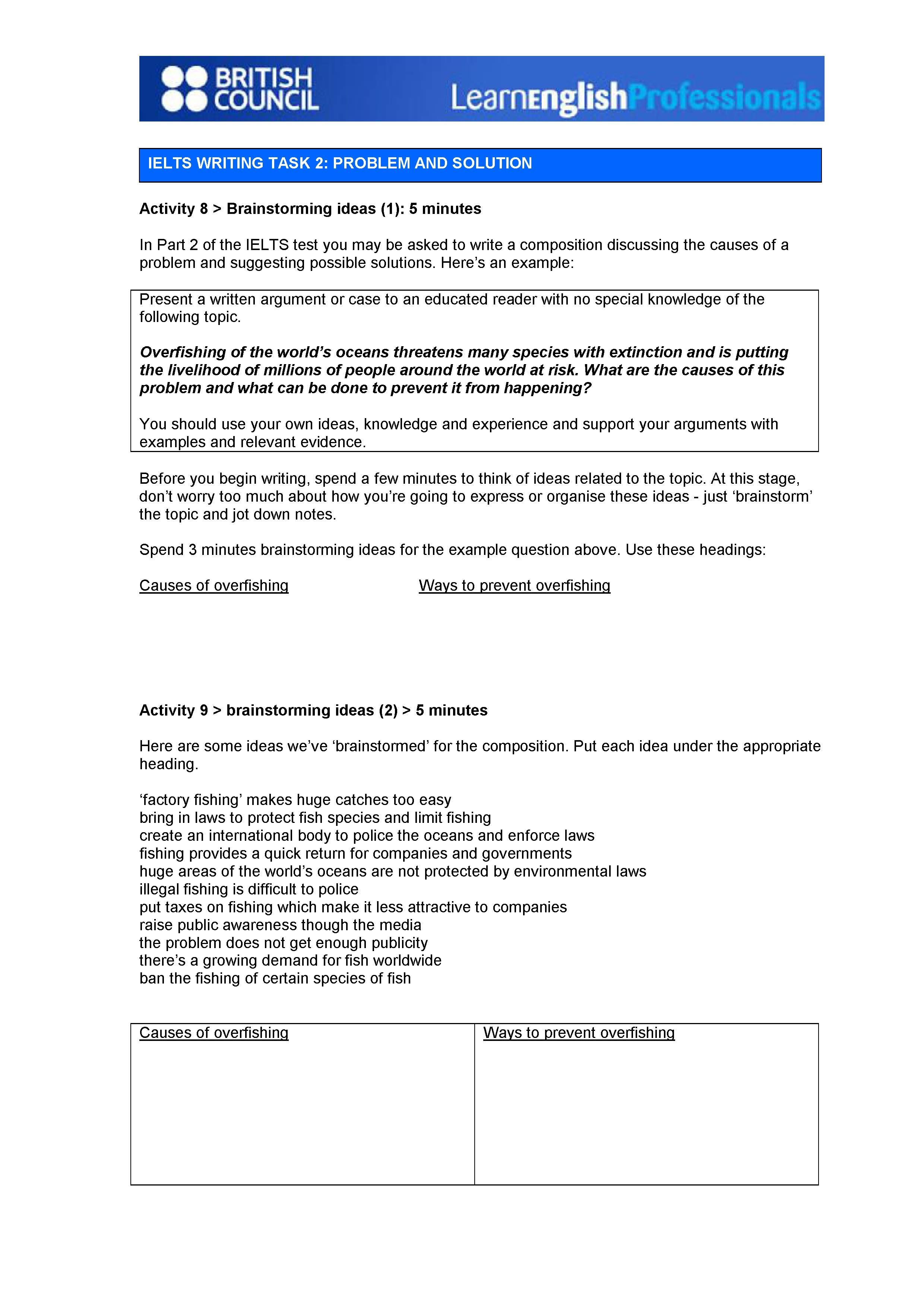 Ielts Writing Task 2 Problem And Solution Brainstorming