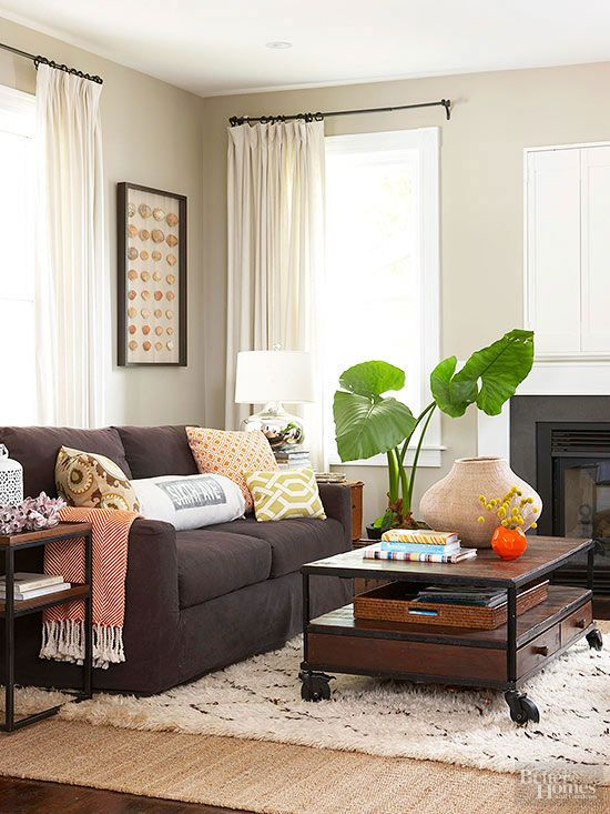 12 Pesky Storage Problems And How To Solve Them Brown Sofa Living Room Brown Living Room Decor Brown Couch Living Room