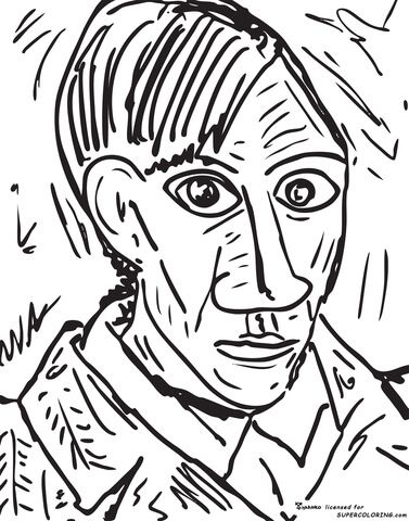 self portrait 1907 by pablo picasso coloring page from famous paintings category select from 20890
