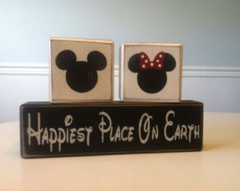 Mickey Mouse happiest place on earth twins birthday boys children wood sign blocks primitive country birthday girls Minnie Mouse