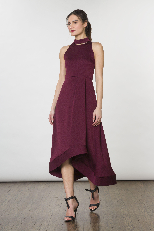 Aubergine Crepe Back Satin Fortrose Highlow Dress High