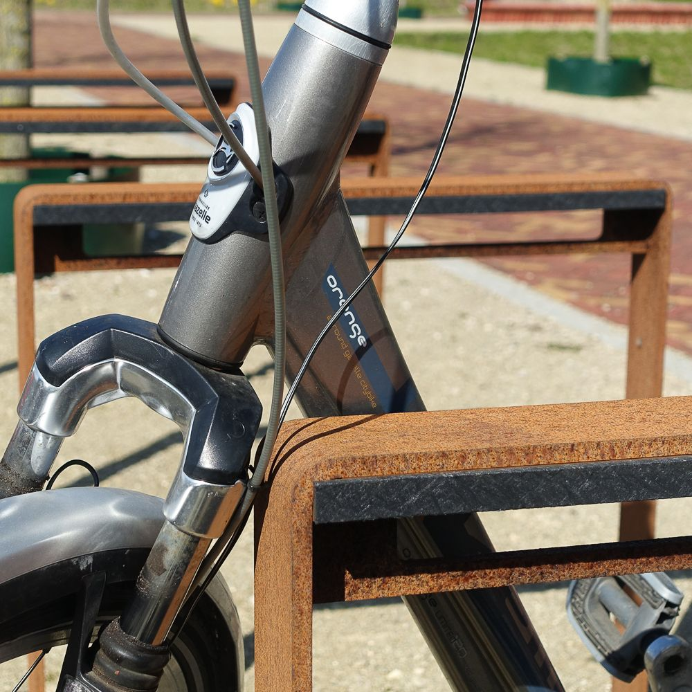 Fitting Corten Bicycle Racks With A Standard Plastic All Black