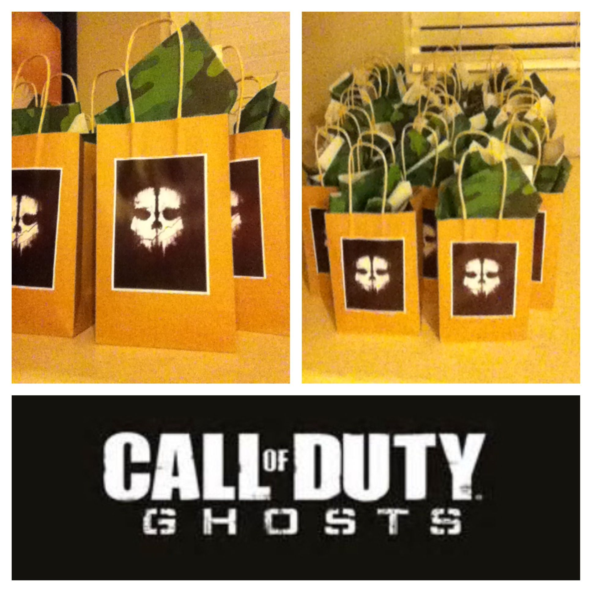 Call of duty ghosts birthday goodie bags call of duty birthday call of duty ghosts birthday goodie bags call of duty birthday theme use black white or green bags filmwisefo Image collections