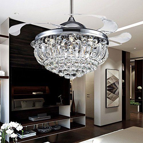 Rs lighting 42 inch crystal hanging ceiling fan for livin https