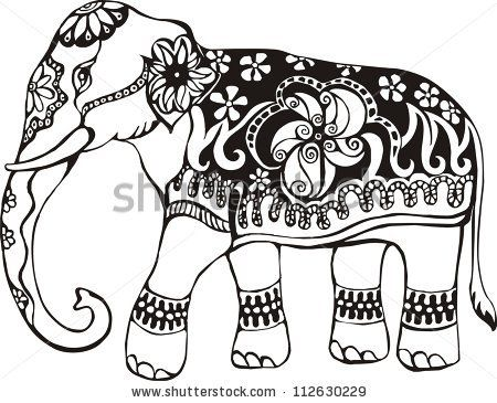 indian elephant stencil...I\'m thinking of using this design on ...