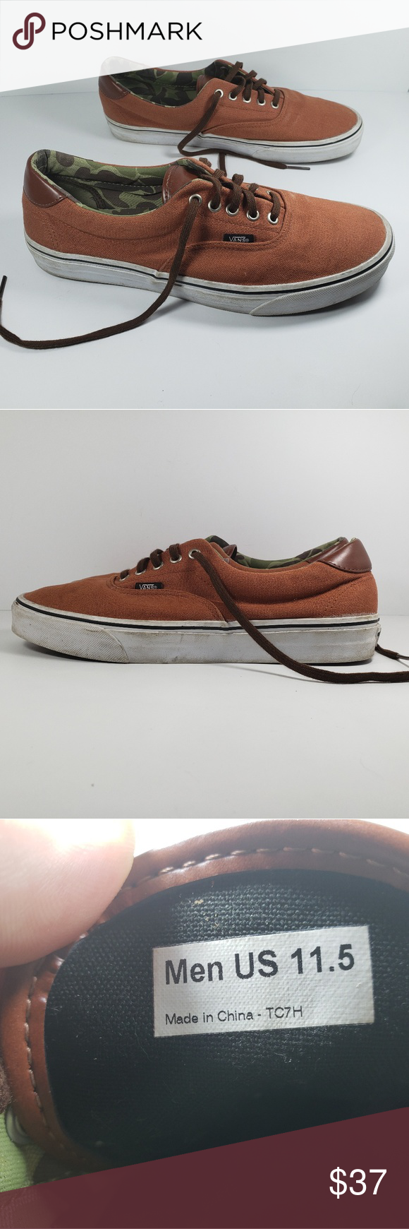 f158513244 VANS OFF THE WALL TC7H Sneakers Mens Sz 11.5 VANS OFF THE WALL TC7H  Sneakers Orange with Brown Faux Leather Trim Mens Sz 11.5. Please see  pictures for an ...