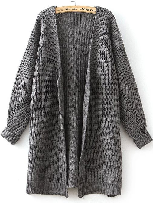Shop Grey Long Sleeve Hollow Knit Cardigan online. Sheinside offers Grey  Long Sleeve Hollow Knit Cardigan   more to fit your fashionable needs. 0e64bcd57