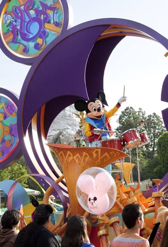 Mickey Mouse in parade at Disneyland