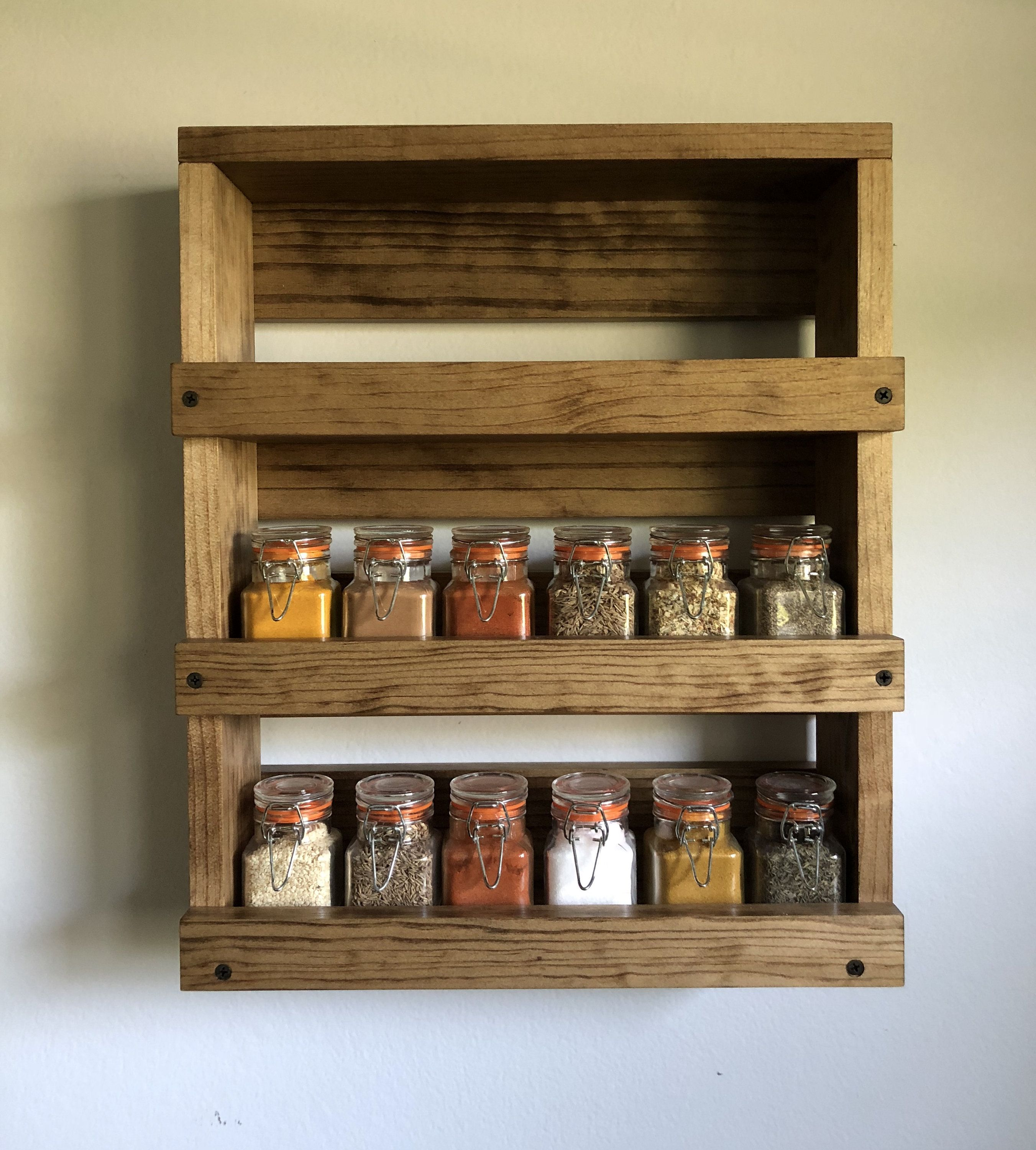 Wall Mounted Spice Rack Gift Item For Her Kitchen Spice Organizer Father S Day Gift Farmhouse De In 2020 Kitchen Wall Storage Wood Spice Rack Wall Mounted Spice Rack