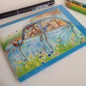 Classic Car Greeting Card, Old Blue Car Card, illustration of an Old American Ca…