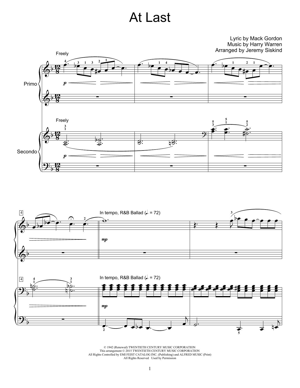 Etta James At Last Arr Jeremy Siskind Sheet Music Notes Chords Sheet Music Notes Sheet Music Music Notes