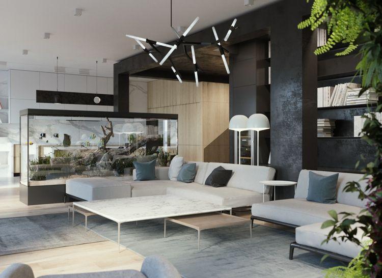 Großes, Modernes Wohnzimmer In Schlichtem Weiß, Schwarz Und Grau  Eingerichtet