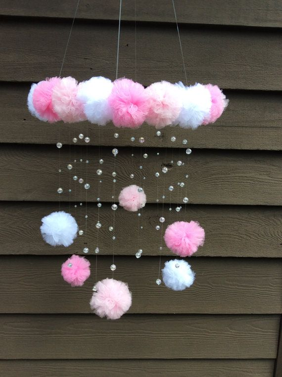 pink crystal baby mobile pom pom mobile by JennabooBoutique