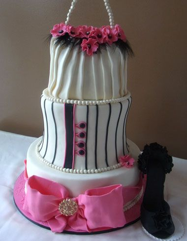 New York Wedding Films likes:  3 tier fashionista bridal shower cake delivered to Stony Hill Inn, Hackensack, New Jersey