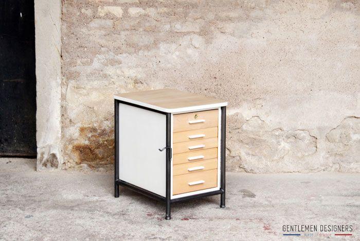 Produits Gentlemen Designers Mobilier Vintage Made In France Petit Meuble D Appoint Bureau En Bois Et Metal Meubles D Appoint