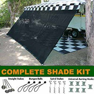 Black Rv Awning Shade Complete Kit 10 X 16 Sun Shade Canopy Shelter Awning Shade Trailer Awning Canopy Shelter