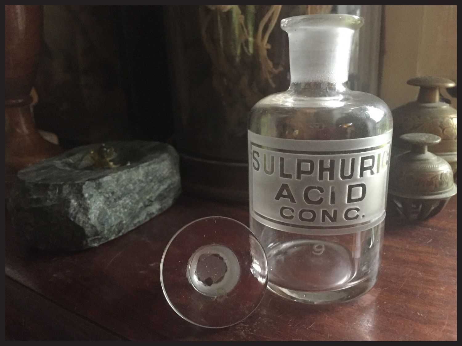 Stunning Etched Antique Chemist / Apothecary / Poison Bottle - Sulphuric Acid…