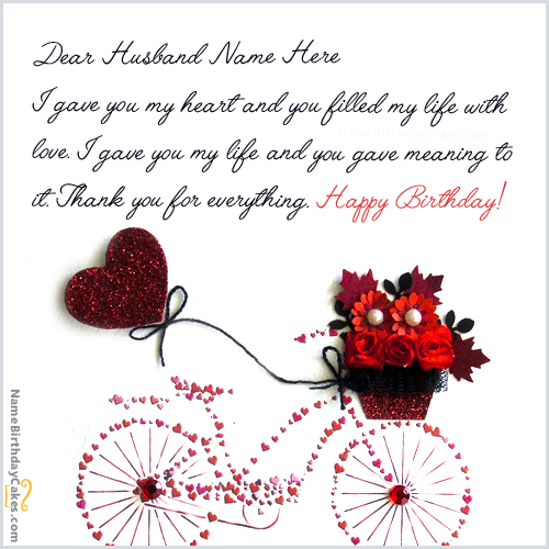 Write name on Cool Birthday Card for Husband Happy