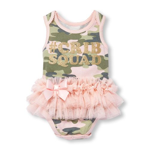 cd537eb1e09 Baby Girls Sleeveless Glitter  Crib Squad  Camo Printed Tutu Bodysuit
