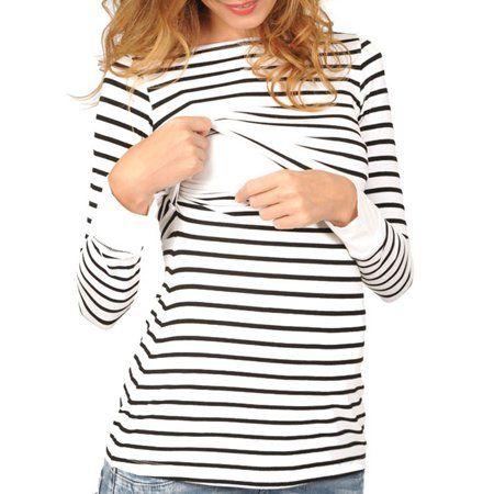 05eccb1fe743b Buy LMart Women Long Sleeve Striped Maternity Layered Nursing Shirts for  Breastfeeding at
