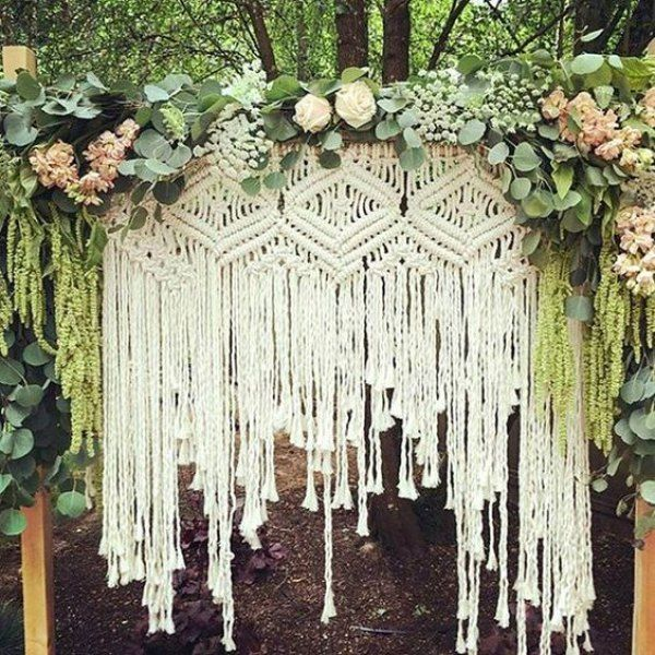 Bohemian Wedding Reception: 15 Macrame Wedding Backdrop Ideas