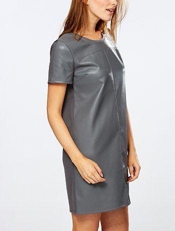 Robe bi-matière simili cuir et maille Femme - Kiabi - 22,00€ a essayer !?