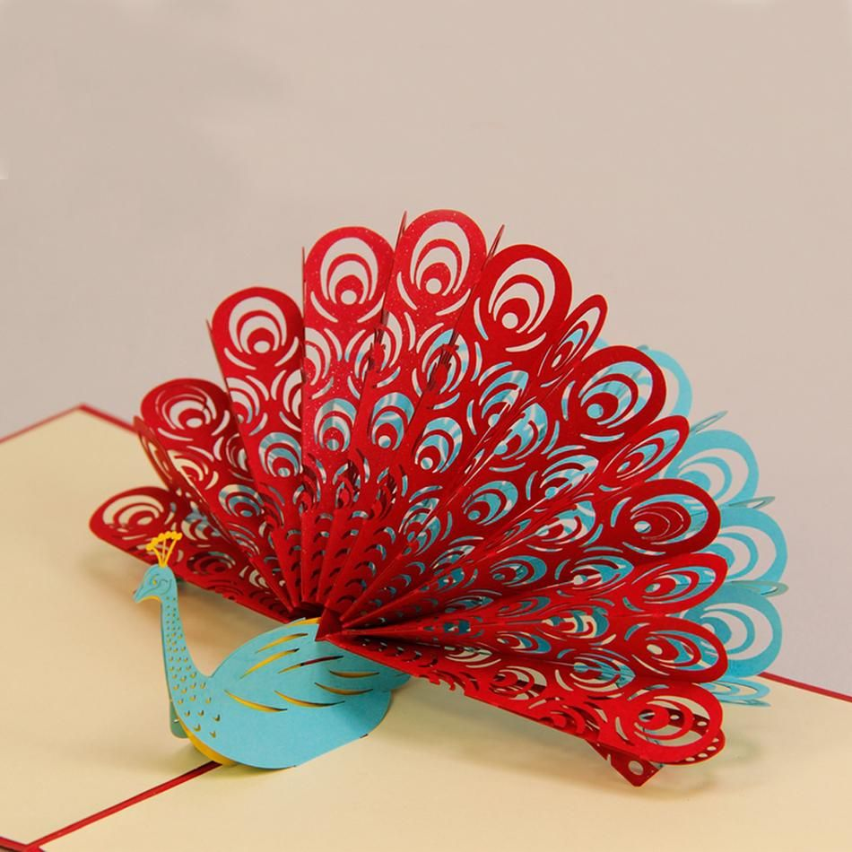 Amazing cool 3d pop up cards custom greeting cards 3d peacock in red amazing cool 3d pop up cards custom greeting cards 3d peacock in red for birthday personalised m4hsunfo