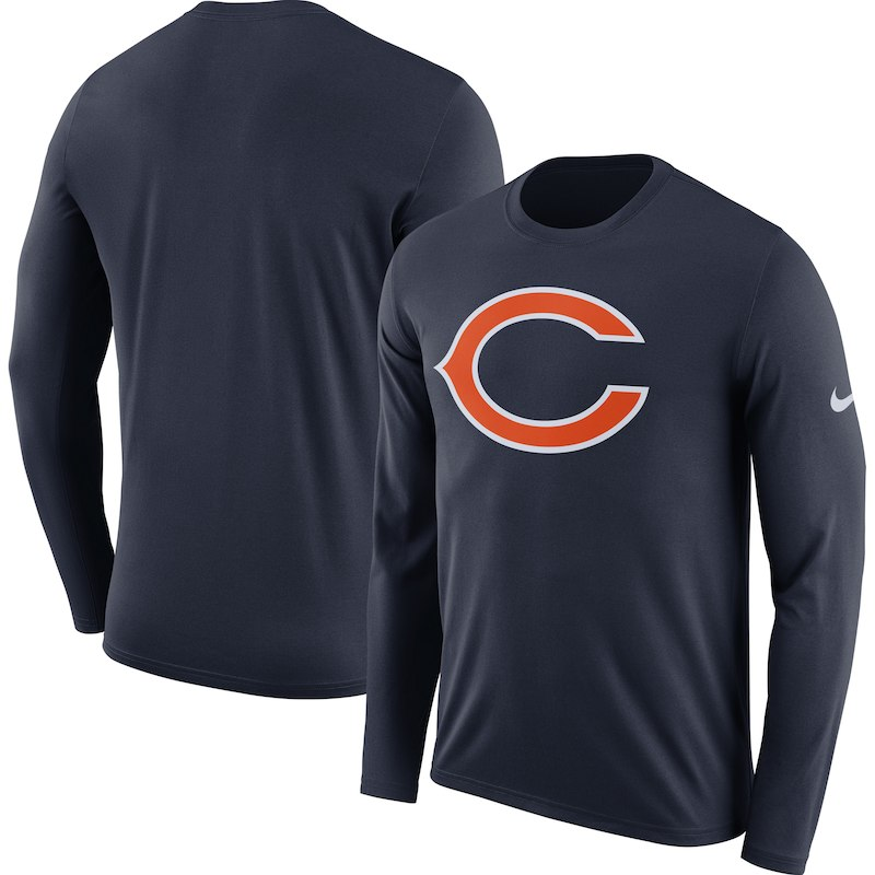 55a81ab15a04e Chicago Bears Nike Fan Gear Primary Logo Long Sleeve Performance T-Shirt -  Navy