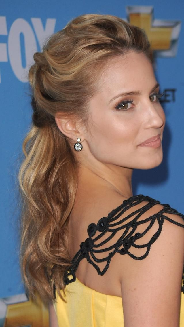 Romantic Pinned Back Prom Hairstyles: Dianna Agron