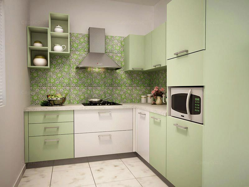 Lshaped Jade Modular Kitchen On Capricoast Is Fulfilled Amazing Modular Kitchen L Shape Design Decorating Design