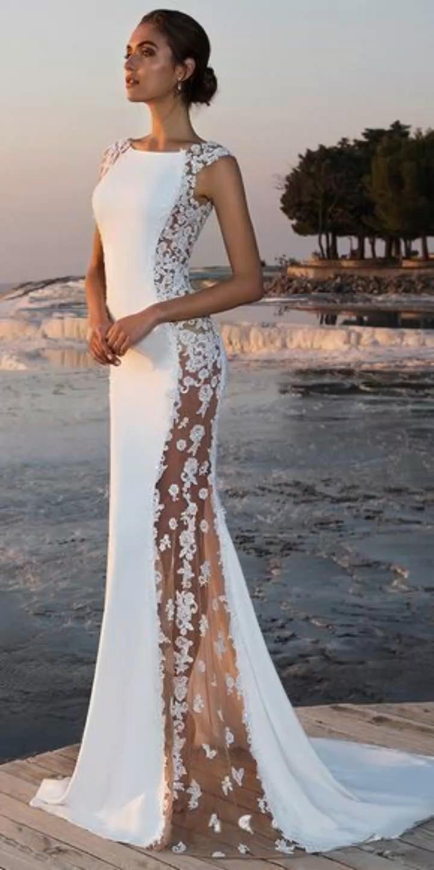 Photo of Chiffon Bateau Ausschnitt Durchsichtiges Meerjungfrau Brautkleid Mit Perlen Spitze Applikationen CR 4764